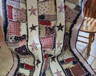 "Merica Rag Quilt Pattern - Instructions to make 74"" x 57"" Patriotic Rag Quilt"
