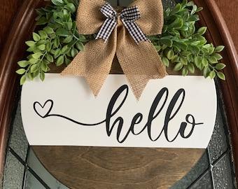Front Door Decor, Hello Doorhanger, Hello Sign, Hello, Welcome Sign, Wooden Round, Front Porch Sign, Hello Door Hanger, Hello Decor,