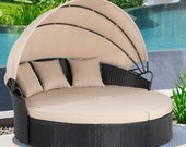 2021 Round Daybed with Retractable Canopy- Outdoor Lawn Sectional Round Sofa Unique Patio Furniture Wicker Rattan Sectional
