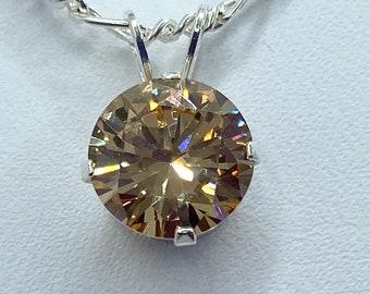 Huge beautiful rutilated qurartz pendant Silver and bronze art deco big stone necklace Dangle rustic yellow brown round pendant Gypsy