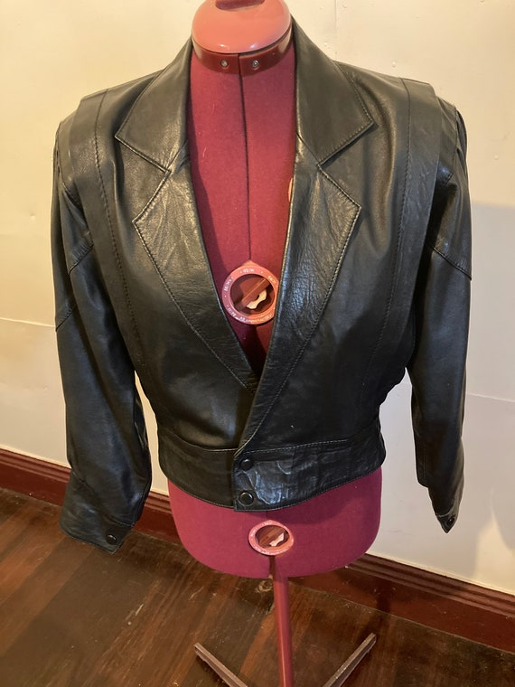 Black Leather 1980s Jacket