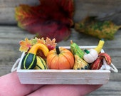 Tiny 10 Piece Pumpkin Gourds Leaves Crate Miniature Autumn Centerpiece Mini Ladder Shelf Plant Stand Dollhouse Shelf Fall Succulents