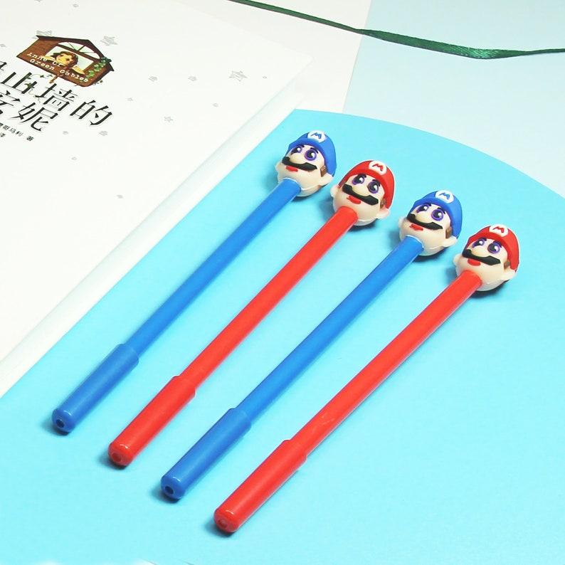Creative Pen,Novelty Gift,Kawaii Pen Stationery,Kids Gifts 2PCS Super Mario  Gel Pen,Cartoon Gel Pen,Writing Signing Pen,0.5mm Black Ink