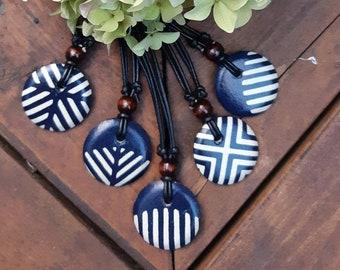 Japanese Chiyogami Navy & White Geometric pattern Pendant - Japanese Paper Pendant - Chiyogami Necklace - Paper Jewelry