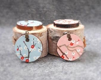 Chiyogami Plum Blossom Earrings - Japanese Paper Earrings - Japanese Chiyogami Earrings - Paper Jewelry -Dangling Earrings - Circle Earrings