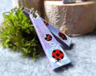 Chiyogami Ladybug Earrings - Japanese Paper Earrings - Japanese Chiyogami Earrings - Paper Jewelry -Dangling Earrings