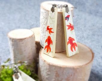 Chiyogami Goldfish Earrings - Japanese Paper Earrings - Japanese Chiyogami Earrings - Paper Jewelry -Dangling Earrings