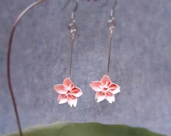 Japanese Sakura Earrings - Japanese Paper Earrings - Chiyogami Earrings - Paper Jewelry - Flower Earrings