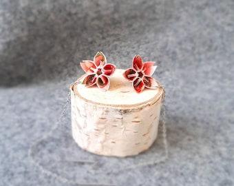 Cherry Blossom Threader Earrings - Japanese Sakura Earrings - Japanese Paper Earrings - Chiyogami Earrings - Paper Jewelry
