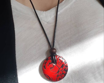 Japanese Wave Pendant - Japanese Chiyogami Pendant - Chiyogami Necklace - Paper Jewelry