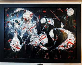 """A2 painting titled """"A Night of Debauchery"""" - mixed media large abstract painting."""