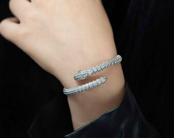 Silver Snake Bracelet, Animal Bracelet, Handmade Silver Bracelet, Limited Edition, Gold Plated Silver Bracelet, Elegant Snake Bracelet