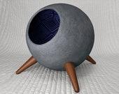 Modern Retro Cat Pod / Designer / Mid Century / Paper Mache / Unique / Scandinavian / Cat Cave / Bed / House / Cat Furniture / Home Deco