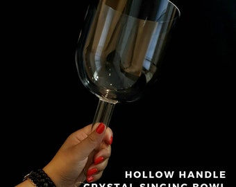 Pineal Chakra note A#, 6 inch Hollow handle Crystal Singing Bowl (Sound Healing, Soundbath, Meditation, Reiki, Lightworker)