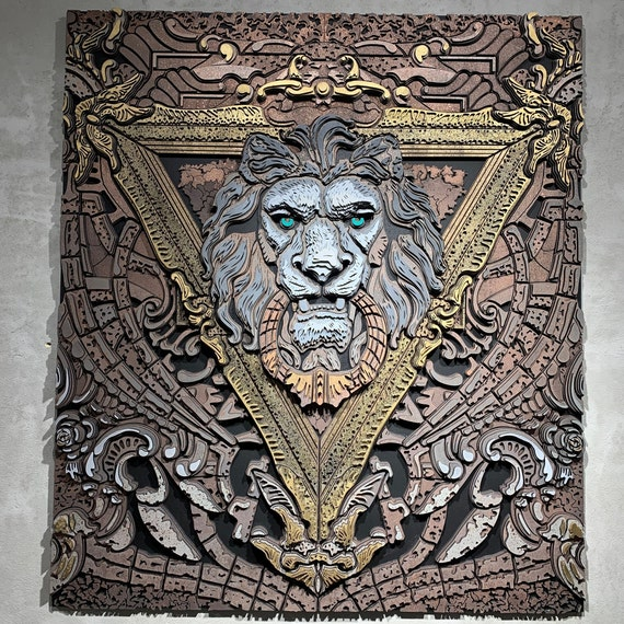 Lion King Wall Art Wood Decor Wooden Bedroom Wall Decor LIMITED numbers of works |1| Modern 3D wood picture