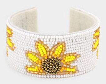 Sterling Silver Cuff Bracelets for Women Flat bead bracelet Beaded cuff Bracelets Bridal cuff bracelet Custom size bracelet  Niki