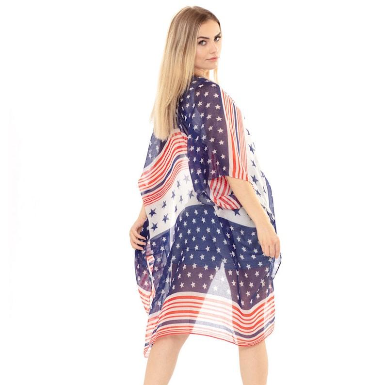 Half and Half American Flag Kimono Poncho