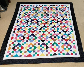 Nine Patch Hour Glass Queen Size Quilt