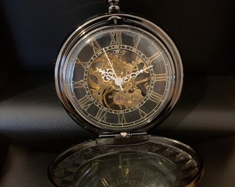 Mechanical watch skeleton, wind up pocket watch, black pocket watch