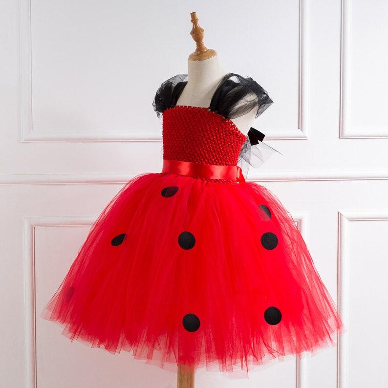 Girls Red and Black Ladybird Tutu Dress Kids Ladybug Costume Birthday Party Outfit Purple Halloween Costume
