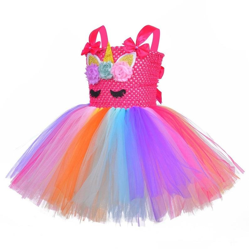 Unicorn Birthday Party Kids Pink Sequined Unicorn Tutu Dress Girls Unicorn Costume Handmade Unicorn Tutu Bright Fuchsia Tutu