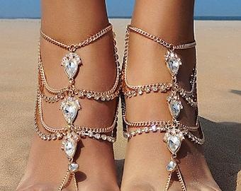 Bolayu Barefoot Sandal Foot Jewelry Crystal Rhinestones Gem Flower Pendant Ankle Anklet