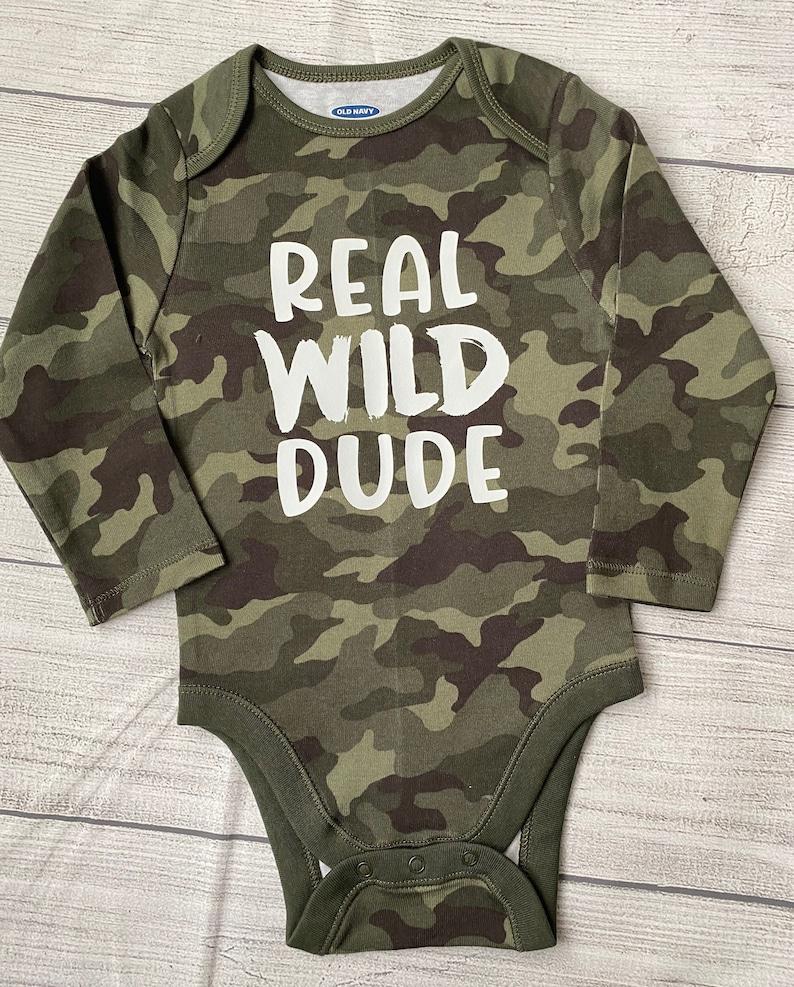 Boys Onesie Boys Camo Tee Boys Long Sleeve Shirt Infant Bodysuit Toddler Shirt Real Wild Dude Camo Shirt