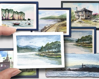 """Custom Tiny Watercolor One Cute Landscape to Order Seascape Cityscape Painting Dollhouse Decor 2x3 by 3x4"""" Original Art NikArtGift"""