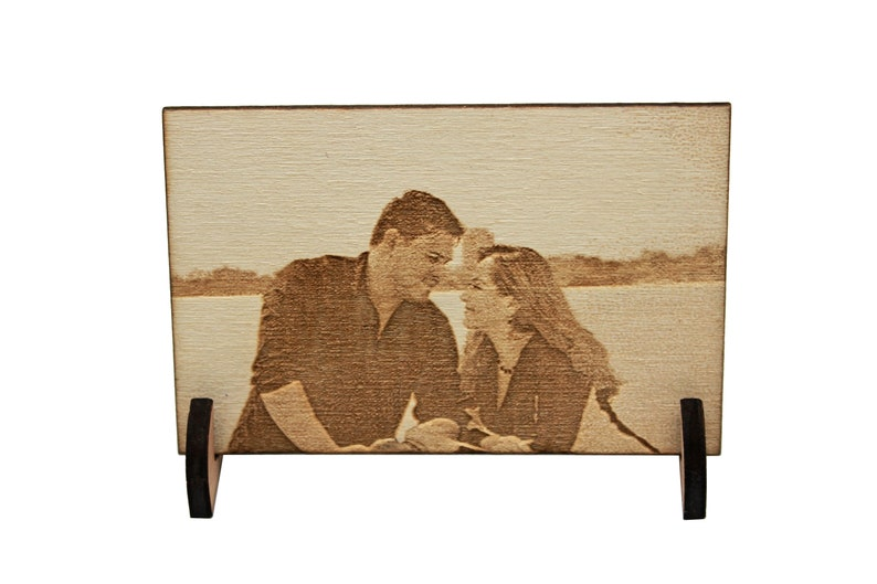 Wooden engraved photo wallet purse card personalized picture 5th fifth wedding anniversary birthday gift laser burned photography print