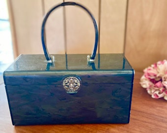 Vintage 1950's Wilardy  Marbleized Lucite Box Purse Handbag with Inner Mirror & Filigree Clasp