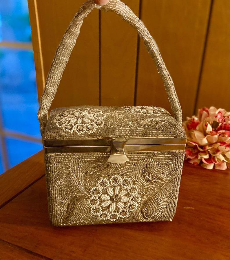 1950s Handbags, Purses, and Evening Bag Styles     Unique Vintage Box Purse Handbag Handmade Fully Beaded Made in Japan $60.00 AT vintagedancer.com
