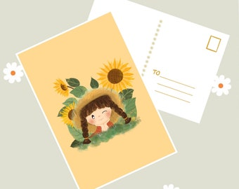 Unique artwork Happy and positive postcard to frame Handmade postcard on premium paper Original gift Cute little girl in meditation