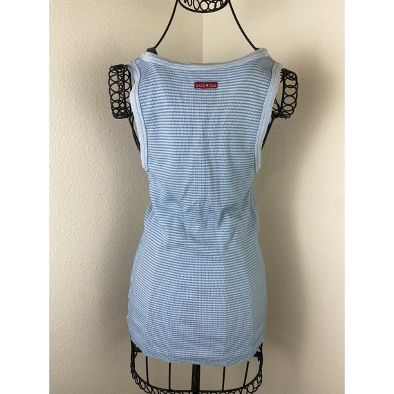 Vintage 90s Blue Ribbed Lace Up Corset Style Tank… - image 6