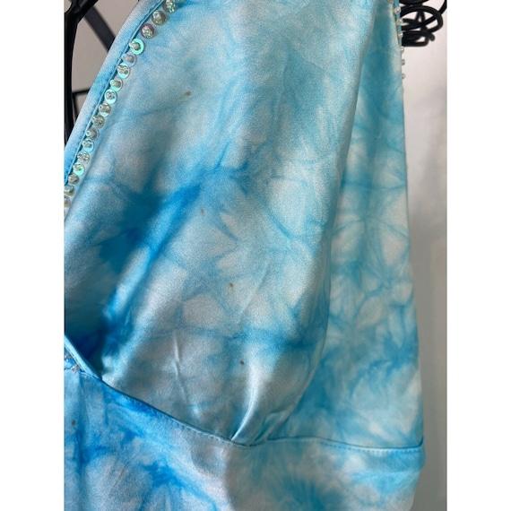 Vintage 90s Y2K Tie Dye Dreamy Blue V Neck Beaded… - image 3