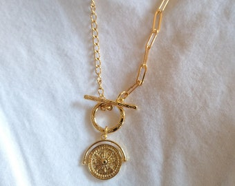 Hera- 18K Gold Plated Dainty Toggle Clasps, Coin Compass Charm Pendant
