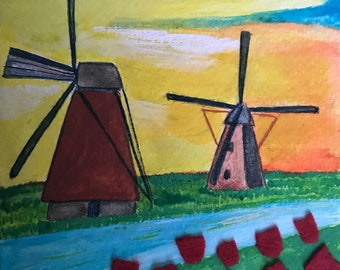 Hand-painted map mills and Holland Tulips