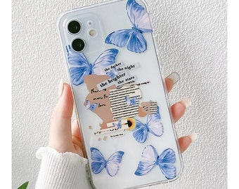 Blue Butterfly Phone Case for iPhone X/XS/XR/11/11 Pro/12/12 Pro/12 Mini/12 Pro Max/13/13 Mini/13 Pro