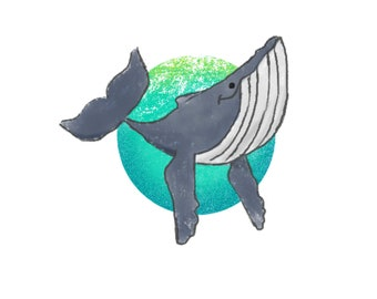 The Little Humpback Whale, Marine Biology, Kids Room Wall Art, Cute