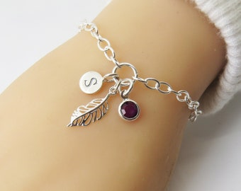 Free Spirit Feather Stainless Steel Charm Personalized Hand Stamped Initial Birthstone Tribal Boho Necklace