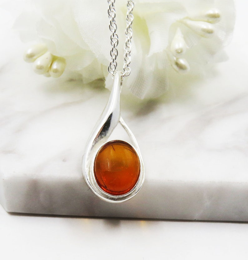 Honey Amber Sterling Silver Oval Pendant Necklace