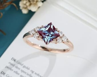 mothers day gift mystic topaz ring 14k Rose Gold Plated Princess Crown Stone Ring
