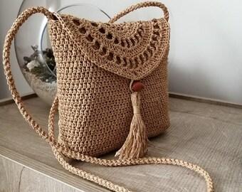 leather cord Knitted Bag Natural Jute Sack Lanyard