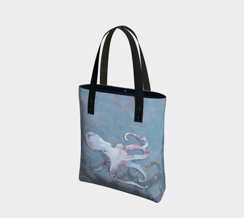 Octopus Blue Tote based on original watercolour by Beth Doman image 0