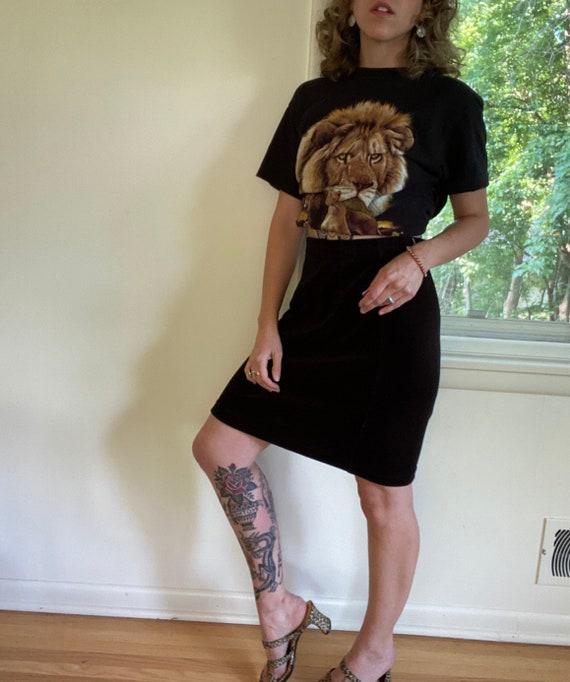 Vintage Liz Claiborne Velvet Pencil Skirt / Black