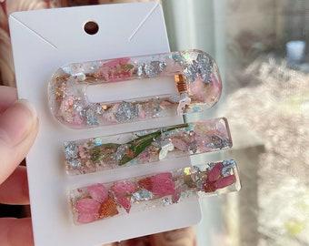 resin hair clip ditsy floral clips floral clips fabric hair slide acrylic hair clip Flower clip clips for adults pretty hair slide