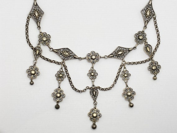Antique Edwardian Silver Necklace