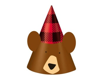 Woodland Party, Bear Birthday Hats, Buffalo Plaid Party, Camping Party Favour, Baby Shower, Lumberjack Party Hats, Lumberjack First Birthday