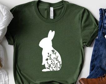 Spring Shirt Animal Lover Bunny Shirt Easter Gift Easter Bunny Easter Shirt Floral Rabbit Shirt Nature Lover Tee Floral Bunny Shirt