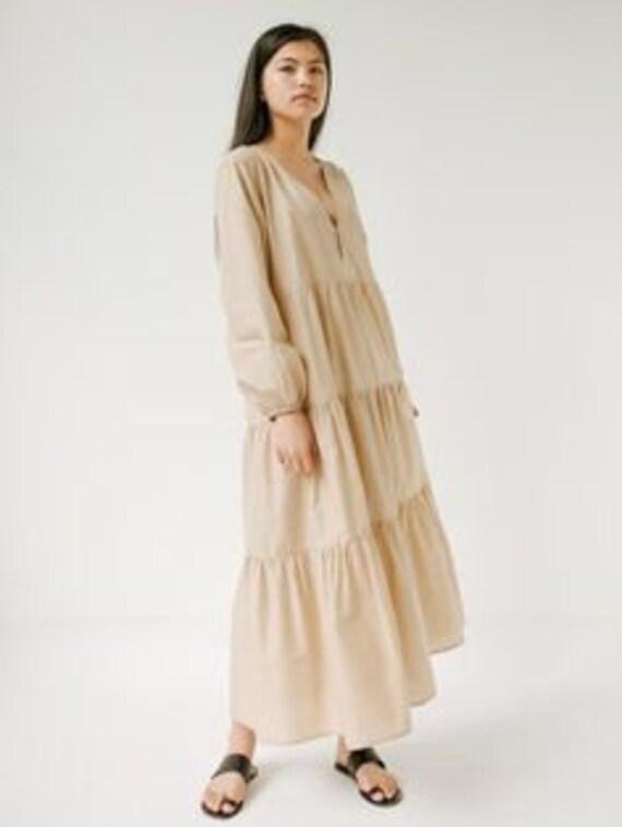 Bohemian Long Sleeve Tiered Dress