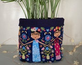 Frida Kahlo Inspired Plant Pot Cover, Fabric Planter, Plant Bag, Basket for Houseplants and Indoor Plants